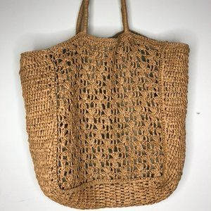 Crochet style straw tote bag